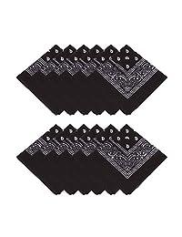 MissShorthair Bandanas Face Mark for Men & Women - Bandana Headband Handkerchiefs Scarf for Dust, Sports, Outdoor (12 pcs-Black)