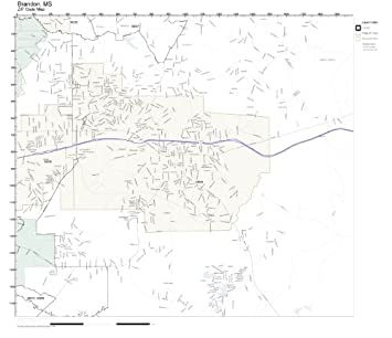 Amazon.com: ZIP Code Wall Map of Brandon, MS ZIP Code Map