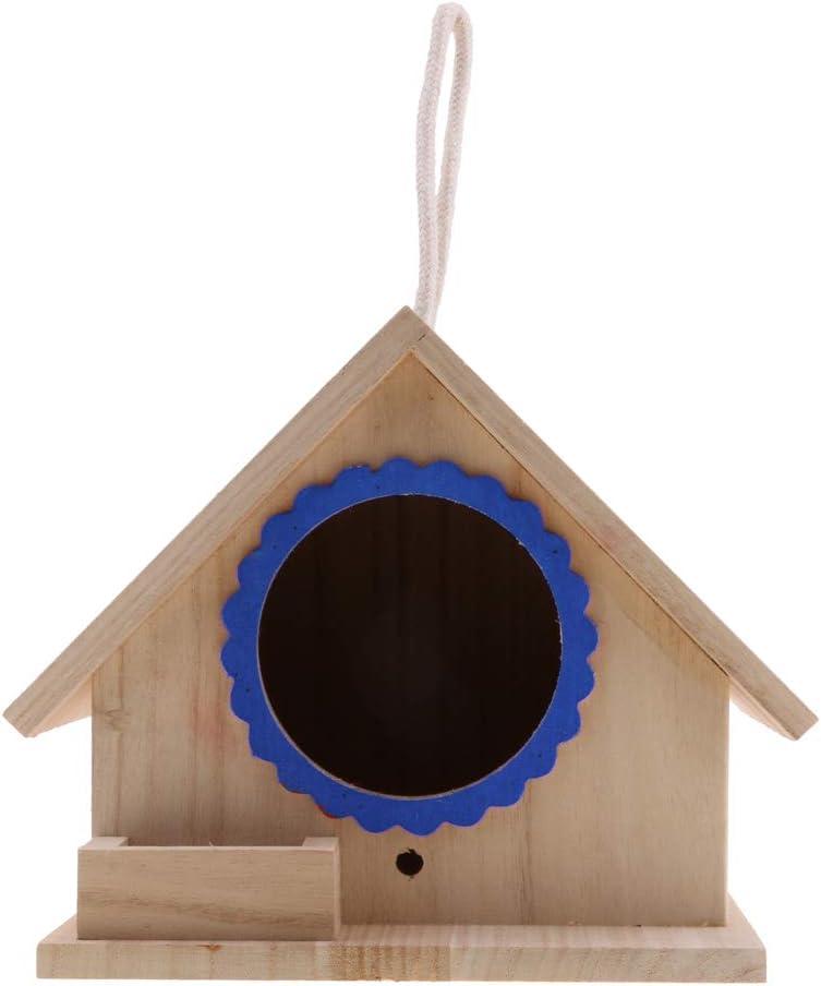 Fenteer Mini Bird House Casa para Loros Pájaritos Decoración Nido - Azul