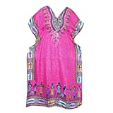 Women's Caftans Dashiki Boho Pink V-neck Beach Cover Up Dress