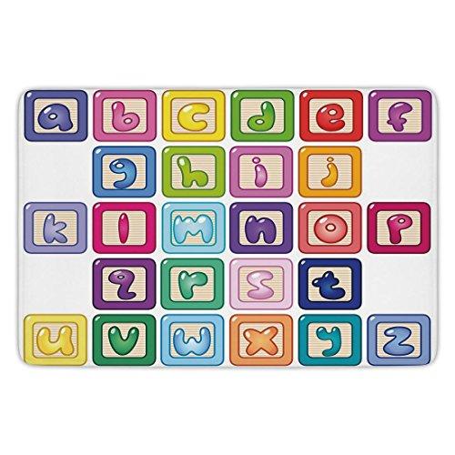Bathroom Bath Rug Kitchen Floor Mat Carpet,Educational,Colorful Lower Case Alphabet Blocks Cute Kids Font Abc Cartoon Style Typography Decorative,Multicolor,Flannel Microfiber Non-slip Soft Absorbent