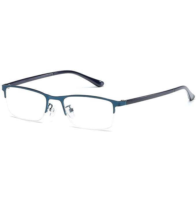 VEVESMUNDO Lesebrille Metall Klassische Scharnier Schmal Stil Brille Lesehilfe Augenoptik Vollrandbrille Mit Etui (Blau, 1.5)