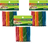 24 Piece Ware Manufacturing Assorted 6.75'' Rainbow Chews Rolls (3 Packages with 8 Rolls each)