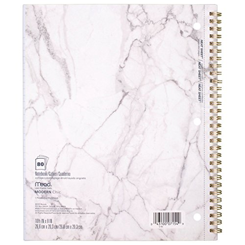 Mead Spiral Notebooks, 1 Subject, College Ruled Paper, 80 Sheets, Modern Chic, 3 Pack (38196)