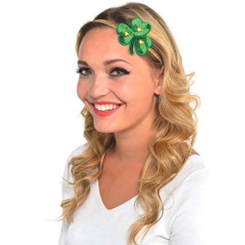 Amscan St. Patrick's Day Green Shamrock Elastic Hairband | Party Accessory