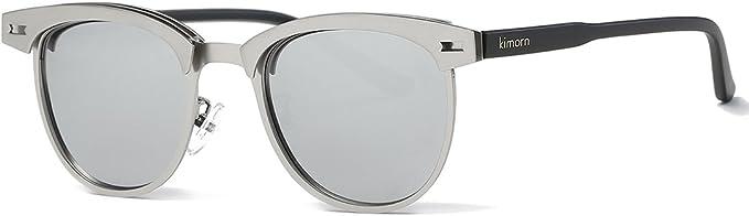 kimorn Polarizzate Occhiali da sole Unisex Retro Semi-Rimless Telaio Occhiali Classici AE0550
