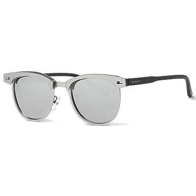 4672990176 Kimorn Polarized Sunglasses Semi-Rimless Metal Frame Classic Sun Glasses  K0558 (Silver)