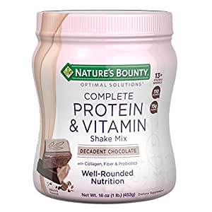 Nature's Bounty Optimal Solutions Protein Shake Chocolate, 16 Ounce Jar, Protein and Vitamin Shake Mix for Women, with Added Nutrients