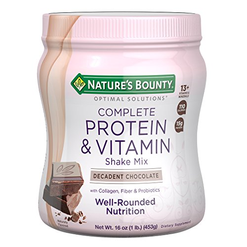 Nature's Bounty Optimal Solutions Protein Shake Chocolate, 16 Ounce Jar,...
