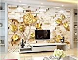 LHDLily 3D Wall Murals Wallpaper Wall Gold Relief Rose Window Mural Wallpaper Home Decoration Window Mural Wallpaper 300cmX200cm