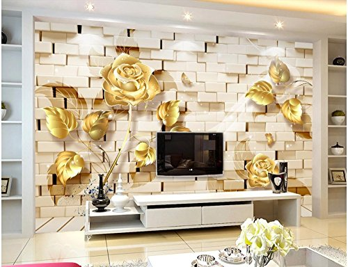 LHDLily 3D Wall Murals Wallpaper Wall Gold Relief Rose Window Mural Wallpaper Home Decoration Window Mural Wallpaper 300cmX200cm by LHDLily