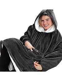 Yomitek Blanket Hoodie Sweatshirt Oversized,Super Soft Warm Comfortable Hoody with Giant Pocket,Reversible,Bathrobe, Fleece Hooded Robe for Adults Men & Women, One Size Fit All (Grey)