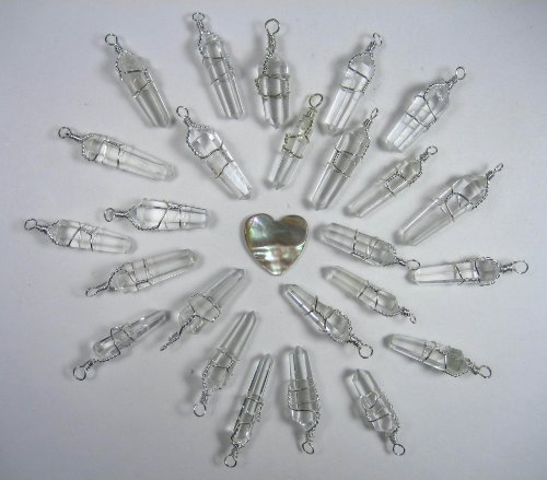 25 Double Terminated Wire Wrapped Quartz Pendants with Carved Abalone Heart -