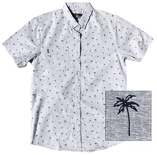 Official Molokai Shirts (Palm Trees Pattern (Grey), Medium) (Tree Pattern Palm)