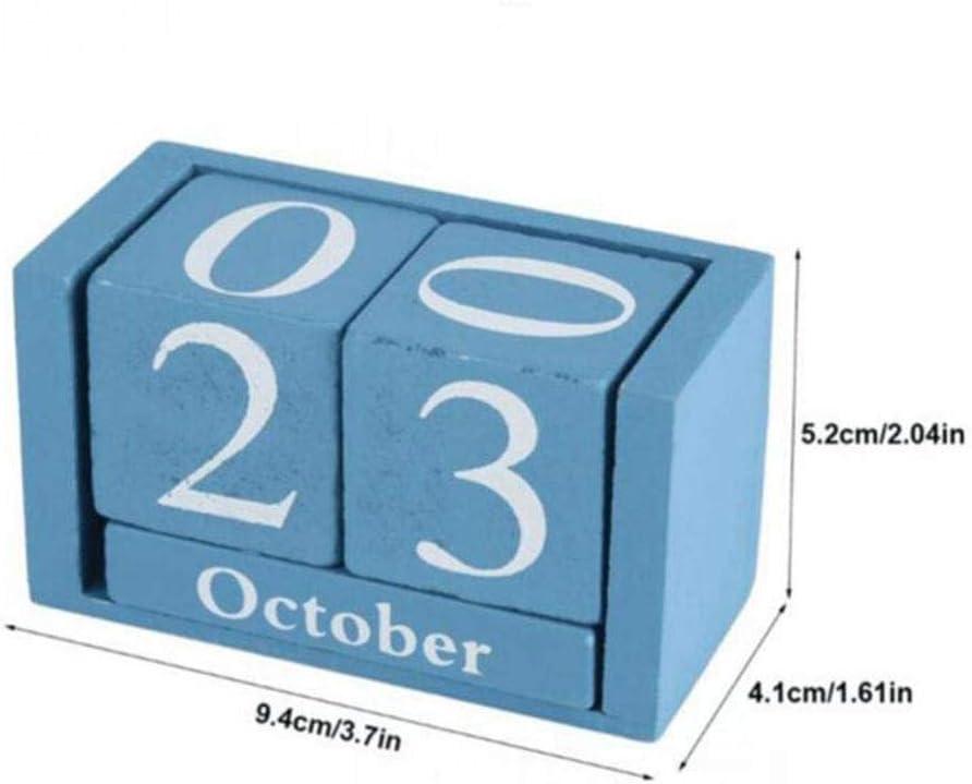 AGGIEYOU Vintage Wooden Advent Table Desk Calendar Wood Block Planer Desktop,Blue