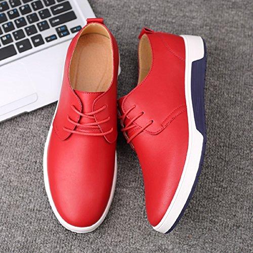 48 Derbys Schuhe Business Größe 37 Flache LILY999 Rot Hochzeit für Wasserdicht Leder Party Lederschuhe Schnürhalbschuhe Schnürer Oxford Herren Halbschuhe Freizeit Anzugschuhe EwUqHz