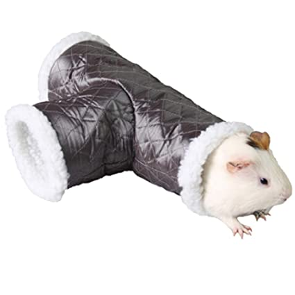 ANIAC Pet Single/T-Shape Play Tunnels Toys Warm Sleeping Bed Tube Hideout  for Hamster Gerbils Hedgehogs Rats Guinea Pigs Mice Squirrels and Small