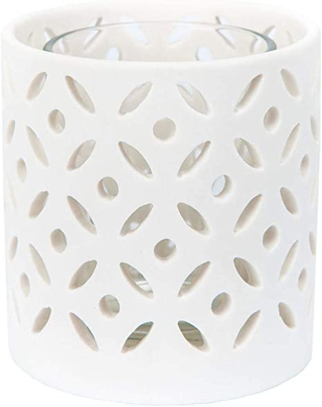 1507942 YANKEE CANDLE 7,7 x 7,7 x 7,6 cm Colore Bianco portacandela in Ceramica