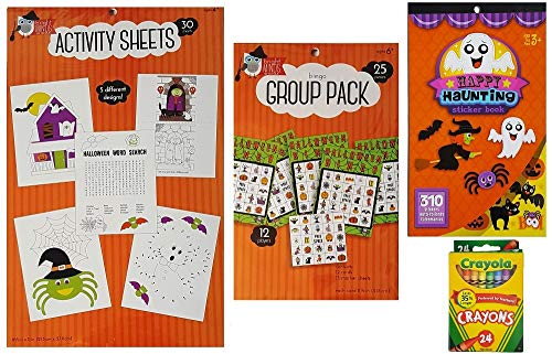 Halloween Activity Kit For Kids - 30 Coloring Sheets, 310 Stickers, Bingo Game Set and Crayola Crayons - 4 Piece Set for Kids, Family, Classrooms, and Birthday Parties