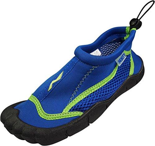 (NORTY Girls Skeletoe Mesh Waterproof Athletic Aqua Socks for Pool Beach, Royal, Lime 39877-12MUSLittleKid)