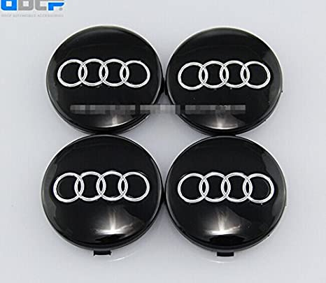 Set Of 4 pcs 60mm Wheel Center Caps Hubcaps For Audi Black