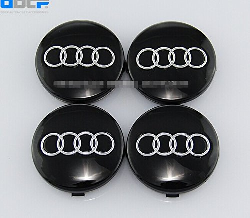Set Of 4 pcs 60mm Wheel Center Caps Hubcaps For Audi Black
