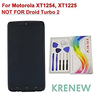 KRENEW Touch Screen Replacement Digitizer Glass LCD Frame Housing & Repair Assembly Kit for Motorola Droid Turbo XT1254 Moto Maxx XT1225 (Black with Frame)
