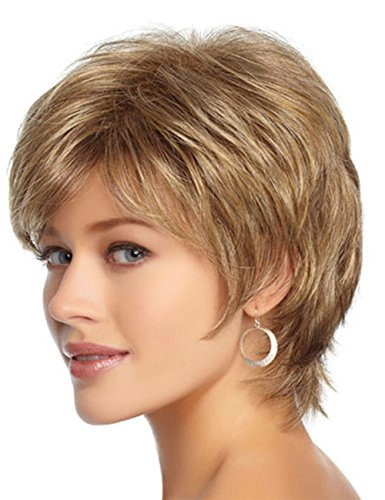 Short Pixie Cut Layered Shag Wig Synthetic hair With Bangs Honey Blonde 613 Highlights For Ladies by HAIRSW