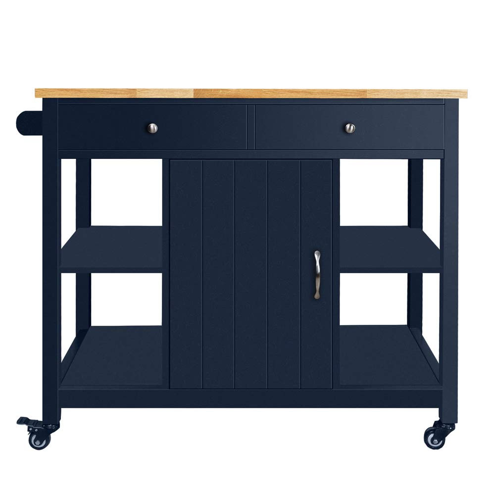 ChooChoo Kitchen Islands Cart on Wheels with Natural Rubber Wood Top, Utility Wood Kitchen Cart with Storage and Drawers, Easy Assembly - Navy Blue by ChooChoo (Image #6)