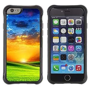 WAWU Funda Carcasa Bumper con Absorci??e Impactos y Anti-Ara??s Espalda Slim Rugged Armor -- sunset vibrant saturated orange blue green -- Apple Iphone 6
