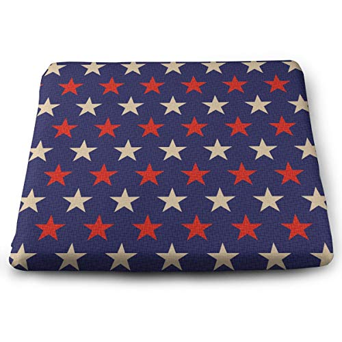 HzLyll Perfect Outdoor/Indoor Retro Patriotic Red Blue Stars Square Cushion-Home Fashions 13.7