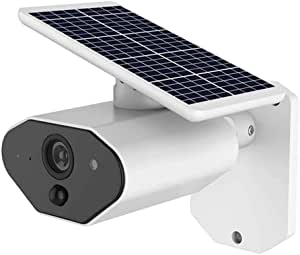 GXSLKWL Outdoor Solar Battery Powered Security Camera IP67 Waterproof 2.0MP 1080P Home Wireless IP Camera Two-Way Audio Quick Alarm Cloud Storage Support Alexa Google Home Voice Control