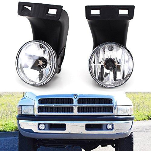 iJDMTOY Complete Set Fog Lights Foglamps with 880 Halogen Bulbs For 2nd Gen 1994-2001 Dodge RAM 1500, 1994-2002 RAM 2500 3500