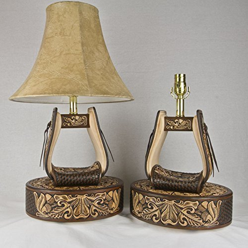 Hand Tooled Leather Stirrup Lamps ( 1 pair ) with Tooled Leather Base featuring Oak Leaves and Acorns (SLTB-001) (Acorn Lamp Base)
