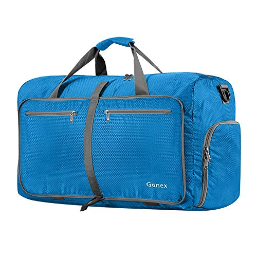 Gonex 60L Foldable Travel Duffel Bag Water & Tear Resistant, Blue