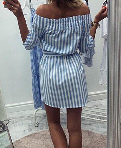 Coolred-femmes Veste Droite Trajet De Lumière De Robe De Douille D'épaule Froide 1/2 Lâche Rayures Bleues