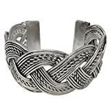 Burnished Silver Tone Wide Cuff Bangle Bracelet (Braided)