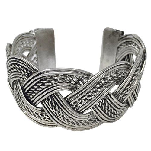 Burnished Silver Tone Wide Cuff Bangle Bracelet (Braided) (Dangle Cuff Bracelet)