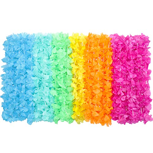 BOSHENG Colorful Lei Assortment Luau Flower Leis Necklaces for Party Event,Set of 30(Sent in Random Color)