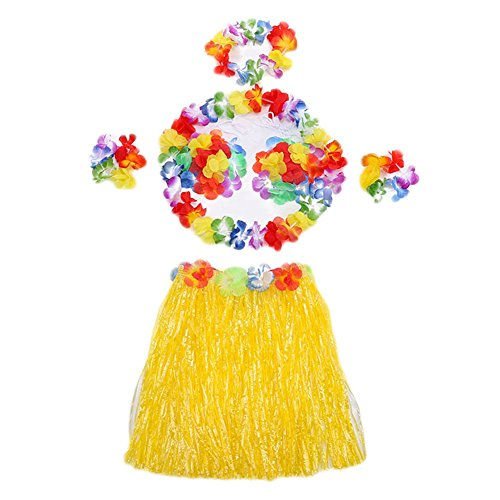 Rhythmic Gymnastics Costumes Designs (Hawaii Dancing Mahalo Floral Party Costumes Lei & Grass Skirt Hula Set, 6-Piece, Yellow, 16