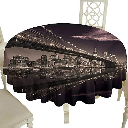 - Cranekey Small Round Tablecloth 36 Inch Landscape,Brooklyn Bridge Sunset NYC View Skyline Tourist Attraction Modern City,Pale Brown Dried Rose Great for,Coffee & More