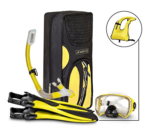 SealBuddy FIJI Panoramic Snorkel set + Premium Travel Gear Bag ~ Vest Included (Yellow/Black, S/M Size 4 to 7.5)