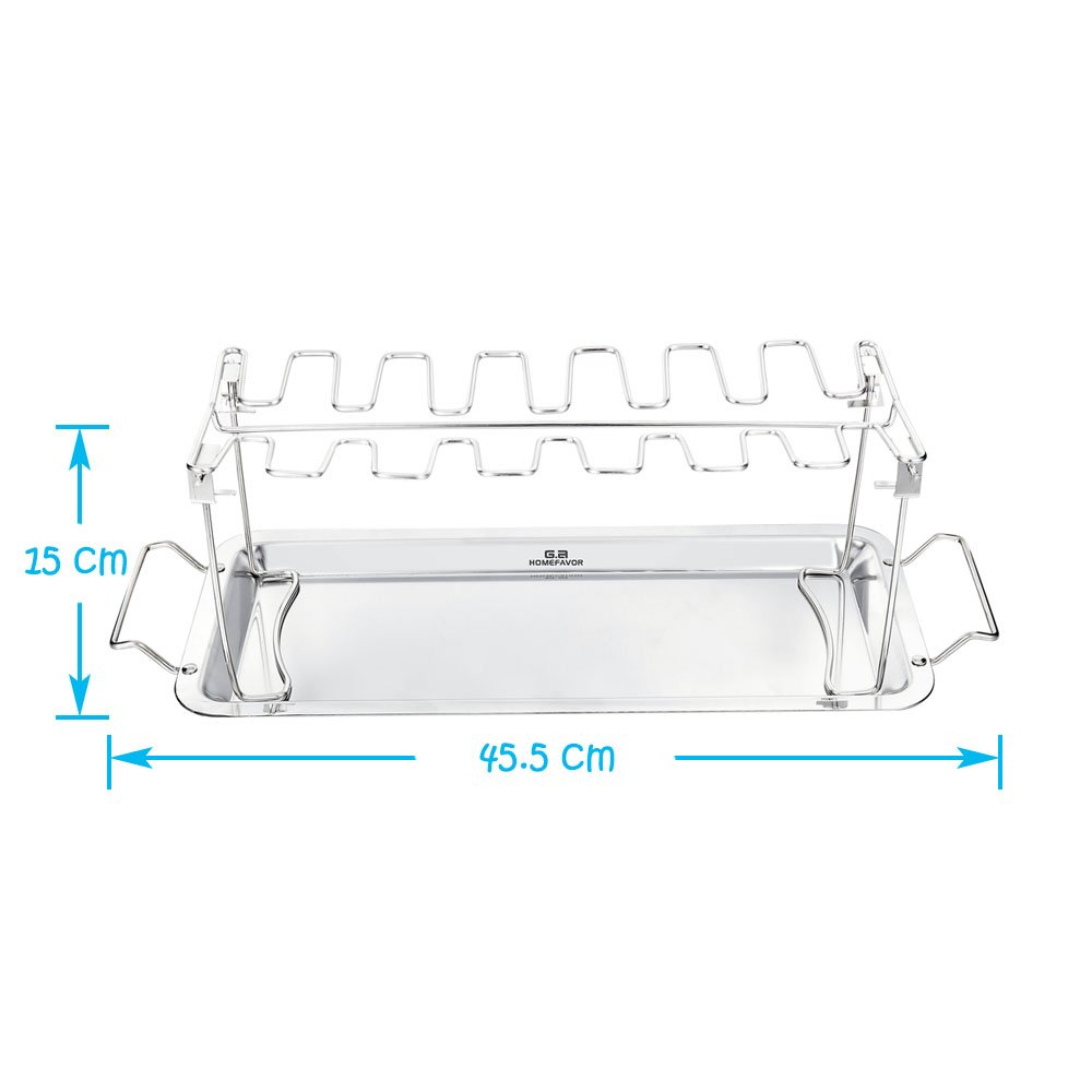 Ga Homefavor Stainless Steel Chicken Wing Leg Cooking Rack Grill Wings Diagram Accessories Holder With Drip Pan Garden Outdoors