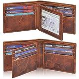 Genuine Leather RFID Blocking Handmade Multi cards Bifold Wallet for Men - Slim Mens Wallet (COGNAC VINTAGE)