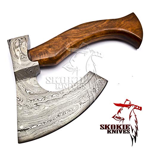 Skokie Knives Custom Hand Made Damascus Steel Axes Hatchets with Natural Wood Handle 11.00""