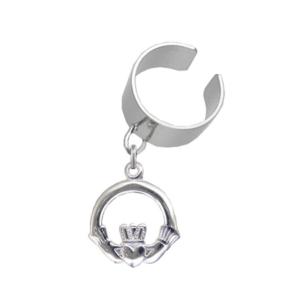 Sterling Silver Claddagh Symbol Dangle Ear Cuff