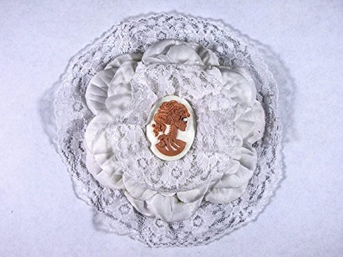 Hairy Scary All White w Peach Victorian Cameo