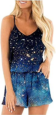 SHOPESSA Women's Camisole Lounge Rompers Vintage Print Tropical Floral Sleeveless Tank Top Short Jumpsuit
