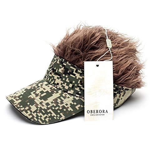 - OBERORA Flair Hair Visor Sun Cap Wig Peaked Adjustable Baseball Hat with Spiked Hairs