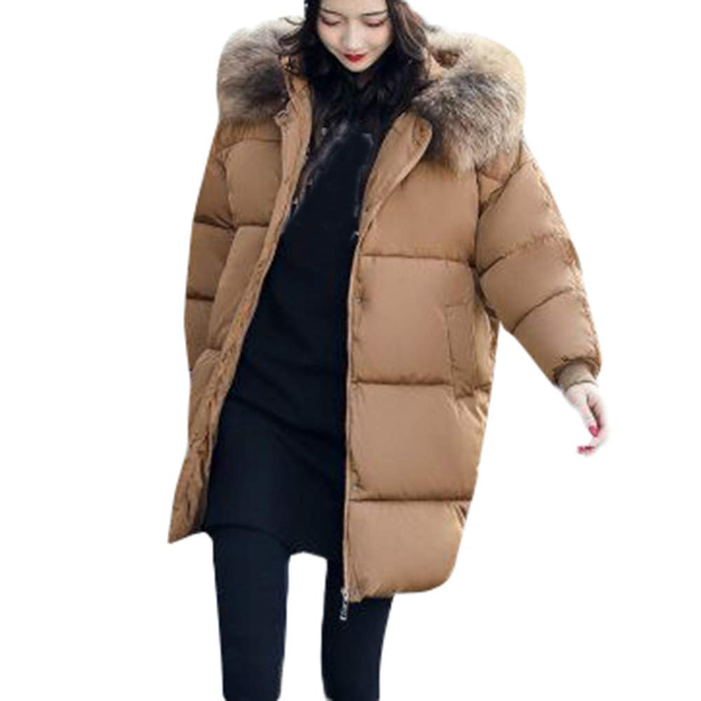 Coffee1 Medium Simayixx Women Winter Faux Fur Hooded Thick Coats Plus Size Casual Warm Down Jackets Long Outwear Clothes
